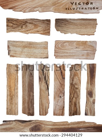 Old Wood plank isolated on white background, vector illustration - stock vector