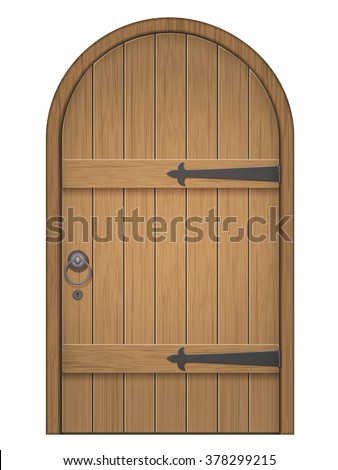 Old Wooden Arch Door. Closed Door, Made Of Wooden Planks, With Iron Hinges
