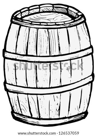 Old wooden barrel - stock vector
