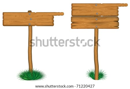 old wooden billboard on the grass  eps 10 - stock vector