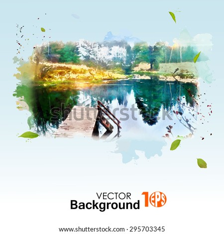old wooden bridge near a big lake, on a hot summer day, watercolor illustration - stock vector