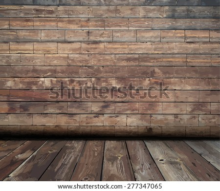 old wooden interior, vector - stock vector