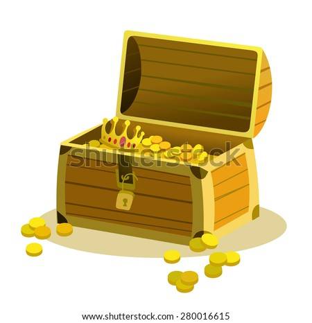 Old wooden pirate chest with coins and treasures. Cartoon vector illustration - stock vector
