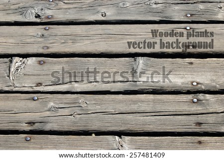 Old wooden planks texture for your design. Vintage vector background - stock vector