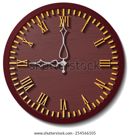 Old wooden, round the clock - stock vector