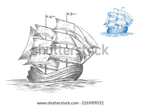 Old wooden sailing ship under full sail on the sea in two color variations in grey and blue, sketch - stock vector