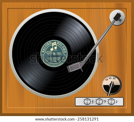 Old wooden turntable. Vintage wood gramophone player with black vinyl long play record with gray / yellow label. 33 rpm lp, vector art image illustration, retro music technology concept, top view - stock vector