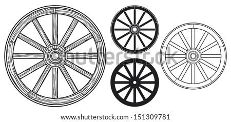 old wooden wheel - stock vector
