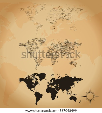 Old world map sketch - stock vector