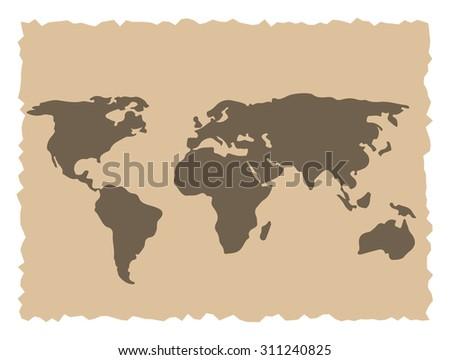 Old world map vector illustration - stock vector