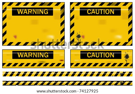 Old worn grungy yellow and black warning signs - stock vector