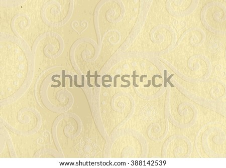 Old yellow grunge paper with translucent vintage pattern (vector EPS 10)
