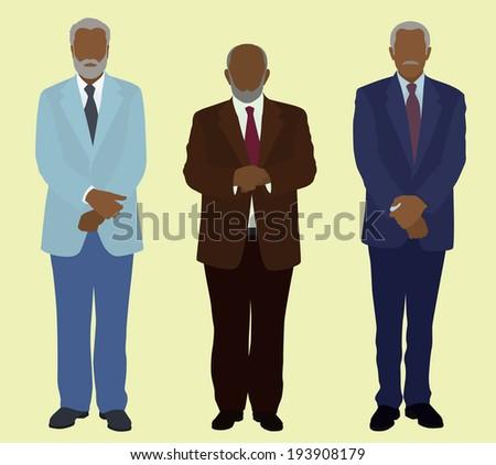 Older Black or African American Businessmen - stock vector