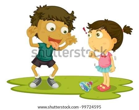 Older brother teasing his sister - stock vector