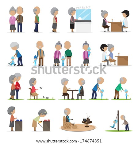 Older People In Different Situations - Isolated On White Background - Vector Illustration, Graphic Design Editable For Your Design - stock vector