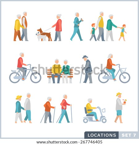 Older People on the street. Neighbors. Flat icons.  - stock vector