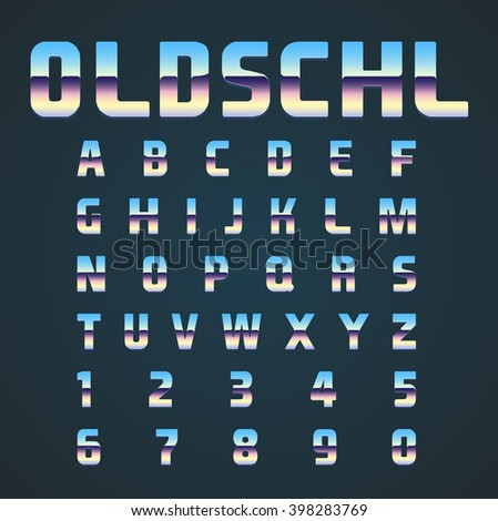 OLDSCHL retro font set, vector - stock vector