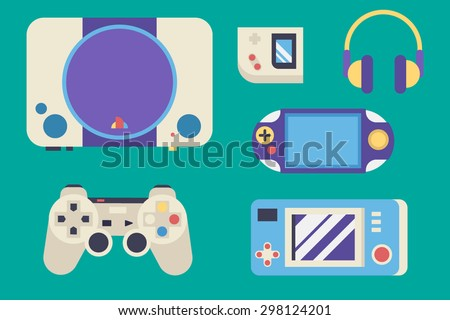 Oldschool Gaming Vector Pack  Layered EPS 10 100% Vector Easy to edit Fully resizable   - stock vector