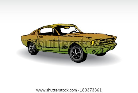 Oldtimer - ford mustang 1965 - illustration