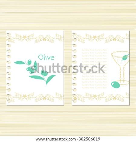 Oliva. Martini. Template. Set. Invitation frame. Menu. Vintage - stock vector