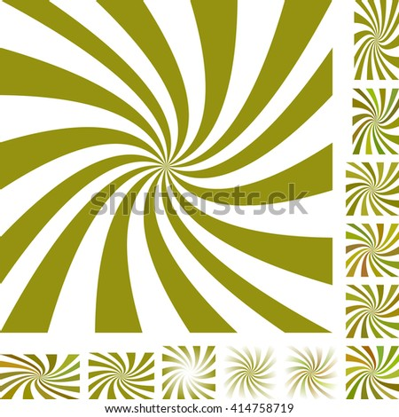 Olive and white vector spiral design background set. Different color, gradient, screen, paper size versions. - stock vector