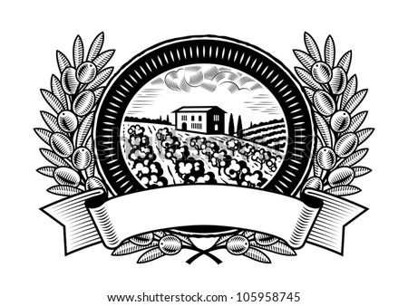 Olive harvest label black and white. Vector - stock vector
