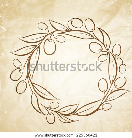 Olive label in circle. Vector illustration. - stock vector