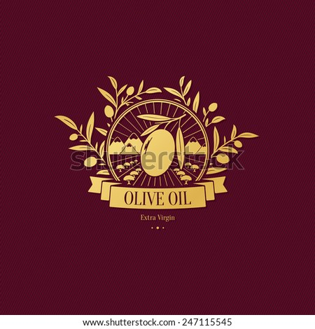 Olive label, logo design - stock vector