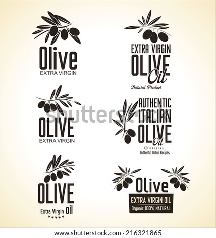 Olive Label set - stock vector