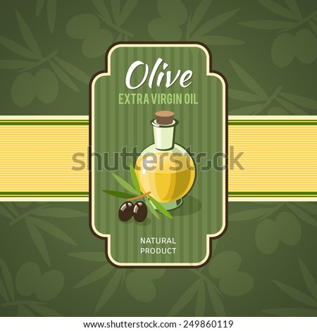 Olive oil badge with glass bottle and branches on background vector illustration - stock vector