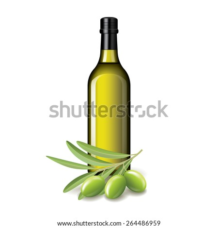 Olive oil bottle and olives isolated on white vector illustration - stock vector