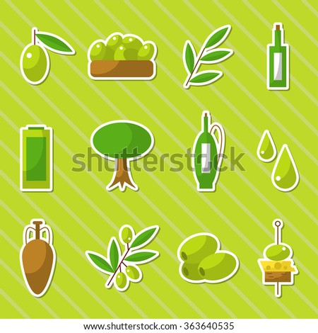 Olive oil icons set. Sticker type icons. Virgin olive oil. Healthy food concept. Flat icons on striped background. Bright green color. Vector illustration for beautiful design.