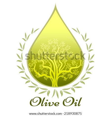 Olive oil label or emblem with a glowing green drop of extra virgin olive oil containing an olive tree surrounded by leaves with the text - Olive Oil - below  vector illustration - stock vector