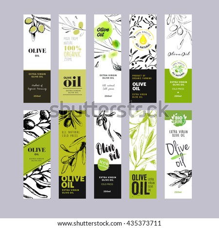 Olive oil labels collection. Hand drawn vector illustration templates for olive oil packaging. - stock vector