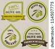 Olive oil labels. Patchwork style. - stock