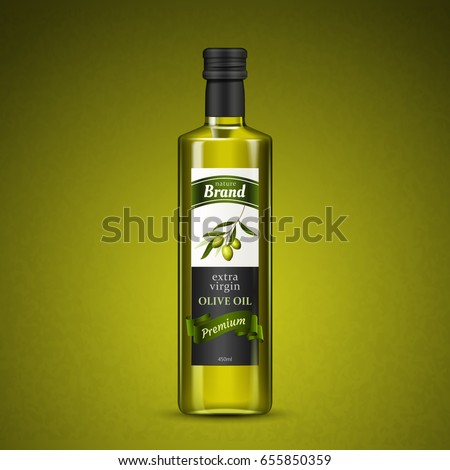 olive oil package design, isolated olive green background 3d illustration