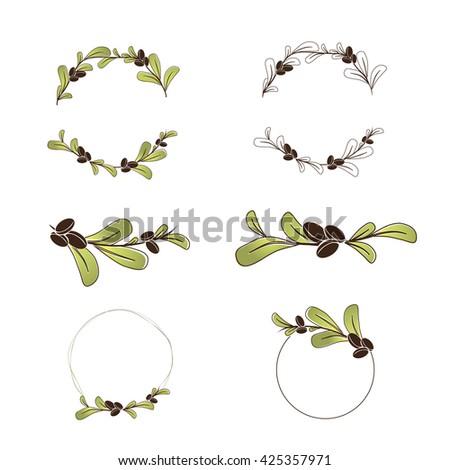 Olive or Argan Oil Logo Design Collection, copyspace  - stock vector