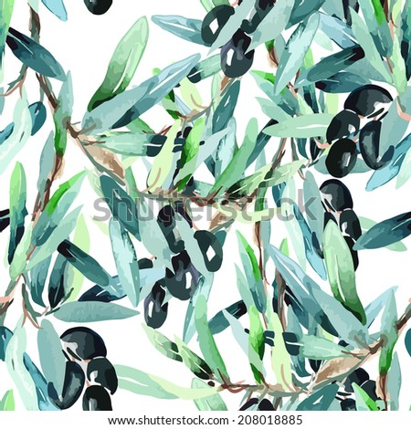 Olive Twig Seamless Pattern - stock vector
