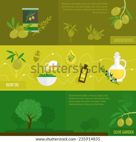 Olives flat banner set with green black oil and garden tree set isolated vector illustration - stock vector