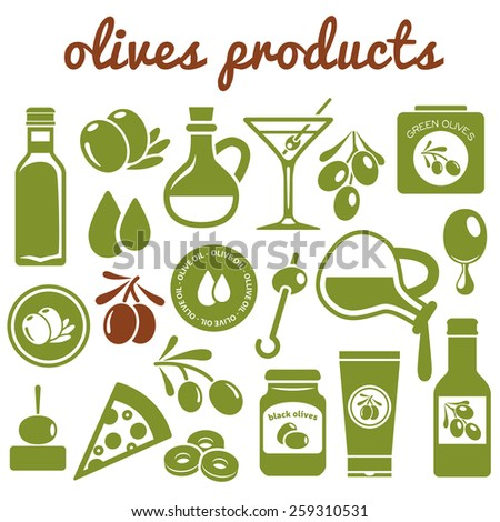 olives icons - stock vector