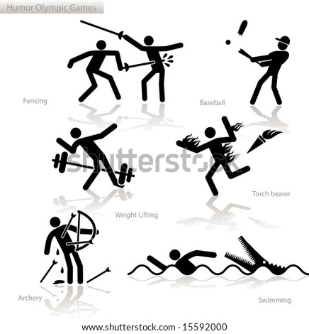 Olympic games see through an humor point of view - stock vector