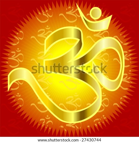 Om in red colour background - stock vector