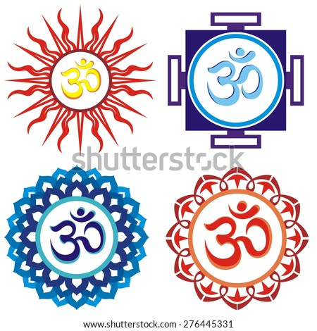 Om symbols.Vector indian spiritual sign ohm - stock vector