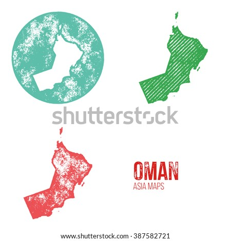Oman Grunge Retro Maps - Asia - Three silhouettes Oman maps with different unique letterpress vector textures - Infographic and geography resource - stock vector