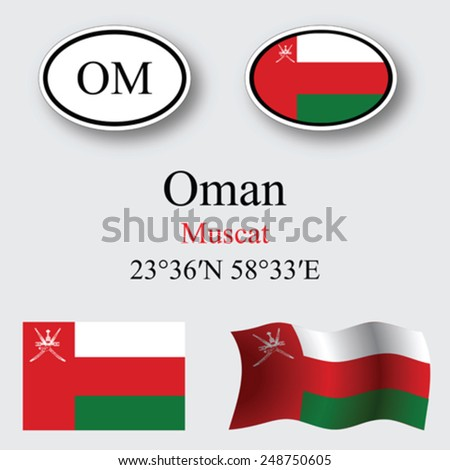 oman icons set against gray background, abstract vector art illustration, image contains transparency - stock vector