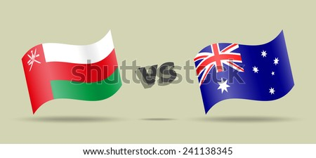 Oman versus Australia, waving flags, vector icons - stock vector