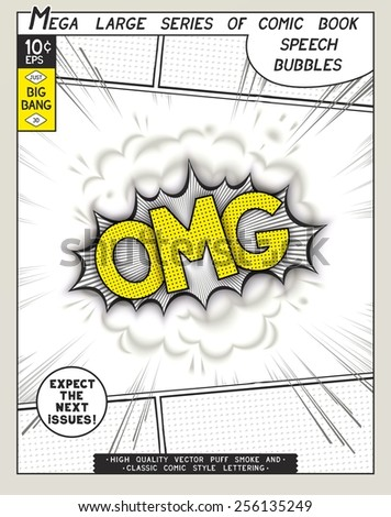 OMG. Explosion in comic style with lettering and realistic puffs smoke. 3D vector pop art speech bubble - stock vector