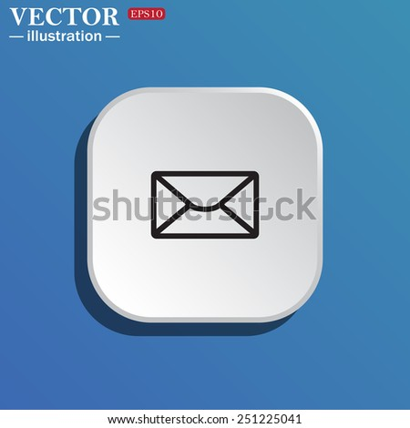 On a blue background white square with rounded corners. envelope lette , vector illustration, EPS 10 - stock vector