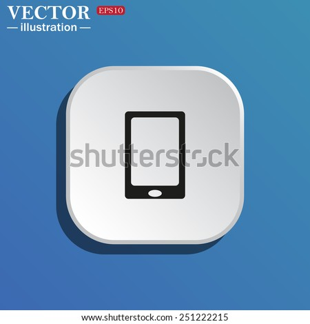 On a blue background white square with rounded corners. Smartphone, phone, mobile phone , vector illustration, EPS 10 - stock vector