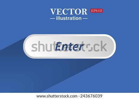 On a blue background with shadow, white button for a site. Enter. Vector illustration, EPS 10 - stock vector